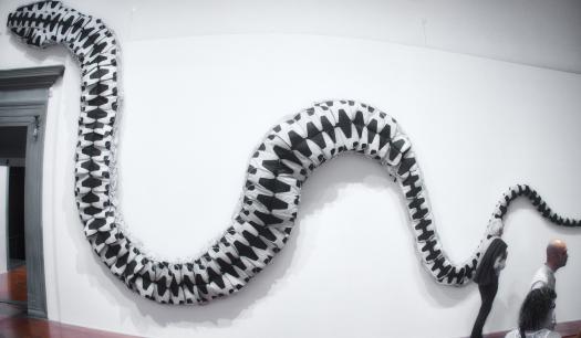 Gran serpiente hecha con portafolios de diferentes tamaños.