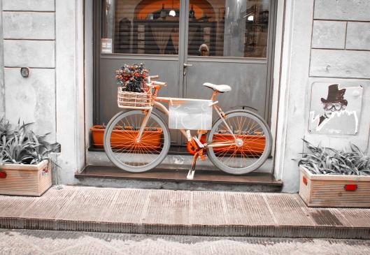 Bicicleta, restaurant y autorretrato.