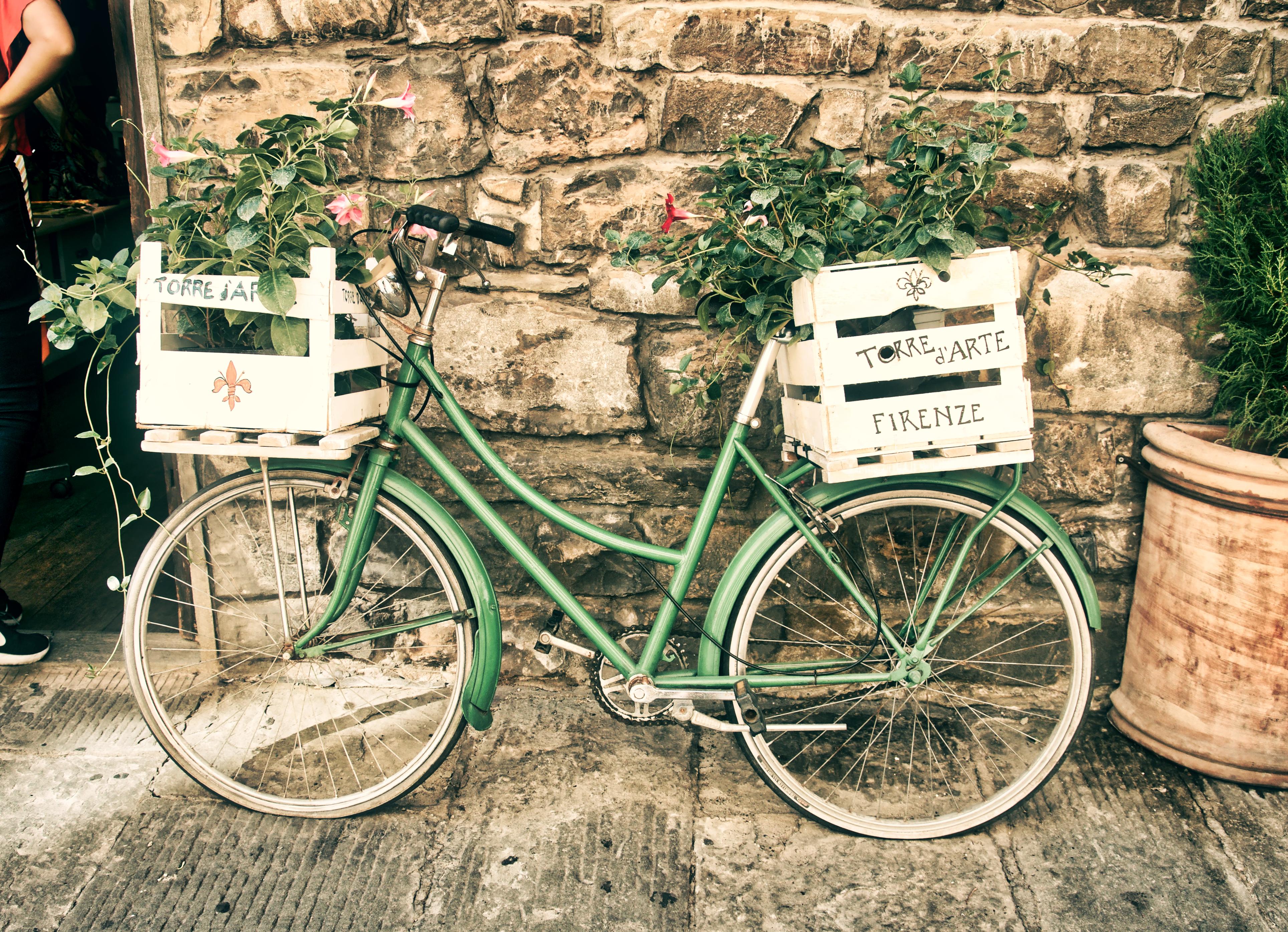 Bicicleta verde con flores.